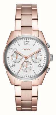 DKNY Womans plaqué or rose bracelet en métal cadran de chronographe blanc NY2472
