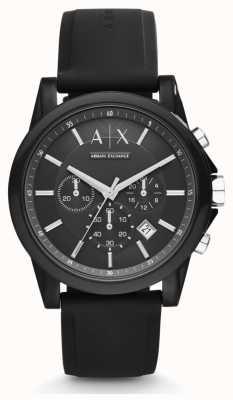 Armani Exchange Bracelet chronographe noir à bracelet en silicone noir pour homme AX1326