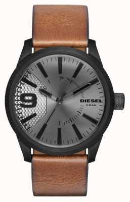 Diesel Mens cuir marron bracelet cadran argenté boîtier noir DZ1764