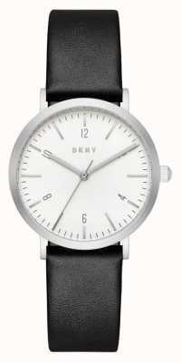 DKNY Womans bracelet en cuir noir cadran rond blanc NY2506