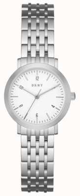 DKNY Womans acier inoxydable argent bracelet en maille cadran rond blanc NY2509