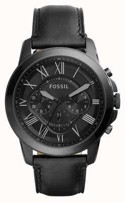 Fossil Bracelet chronographe noir en cuir noir pour homme FS5132