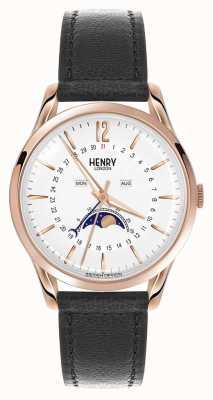 Henry London Richmond boîtier en or rose bracelet en cuir noir HL39-LS-0150