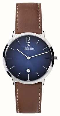 Michel Herbelin Bracelet en cuir marron pour homme ikone grande cadran bleu 19515/15