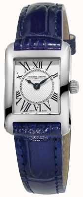 Frederique Constant Womens cadran argenté carree bleu bracelet en cuir FC-200MC16
