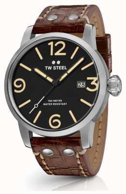 TW Steel Mens maverick bracelet en cuir brun cadran noir MS1