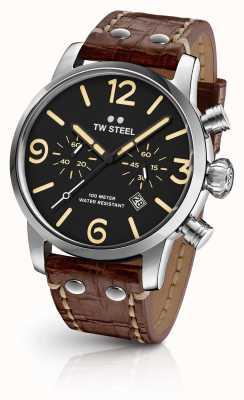 TW Steel Mens maverick chronographe bracelet en cuir brun cadran noir MS3
