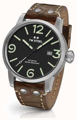 TW Steel Mens maverick bracelet en cuir brun cadran noir MS11