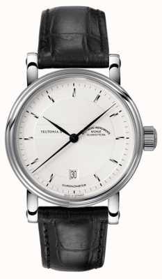 Muhle Glashutte Teutonia ii Chronomètre cadran bracelet en cuir d'argent M1-30-45-LB