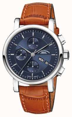 Muhle Glashutte Bracelet en cuir chronographe Teutonia II cadran bleu nuit M1-30-92-LB