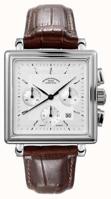 Muhle Glashutte Teutonia ii quadrant cadran bracelet en cuir de chronographe d'argent M1-33-35-LB