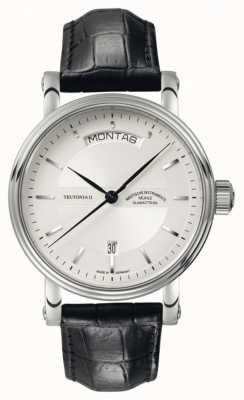 Muhle Glashutte Teutonia ii tag / donnée cadran bracelet en cuir d'argent M1-33-65-LB