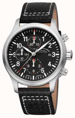 Muhle Glashutte Terrasport cuir bande cadran noir i chronographe M1-37-74-LB