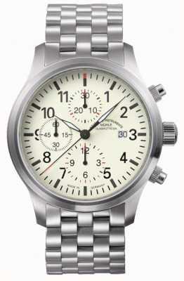 Muhle Glashutte Terrasport I chronographe bracelet en acier inoxydable cadran crème M1-37-77-MB