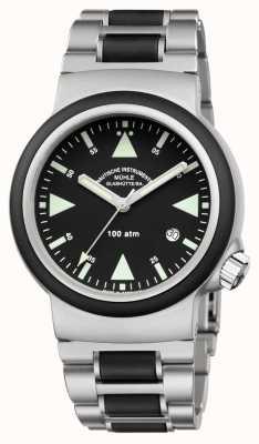 Muhle Glashutte Bracelet en acier inoxydable avec minuterie de sauvetage Sar Cadran noir M1-41-03-MB