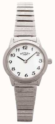 Rotary Womens acier inoxydable extensible cadran blanc LBI0761