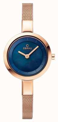 Obaku Bracelet en maille bleue en cuir bleu Womans V129LXVLMV