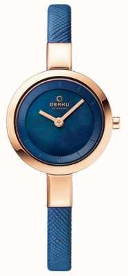 Obaku Womans boîtier en or rose bracelet en cuir bleu V129LXVLRA