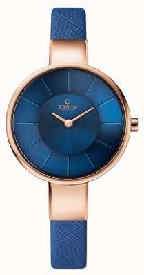 Obaku Womans boîtier en or rose bracelet en cuir bleu cadran bleu V149LXVLRA