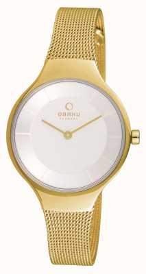 Obaku Womans boîtier en or or bracelet en maille cadran blanc V166LXGIMG