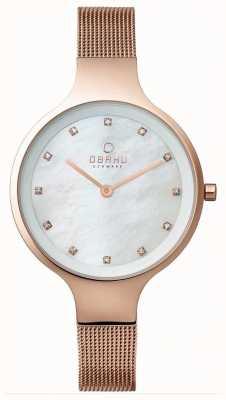 Obaku Womans or rose rose bracelet en maille d'or cadran blanc V173LXVWMV