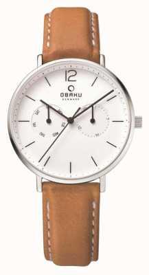 Obaku Boîtier en acier pour homme, bracelet en cuir marron clair, cadran blanc V182GMCWRZ