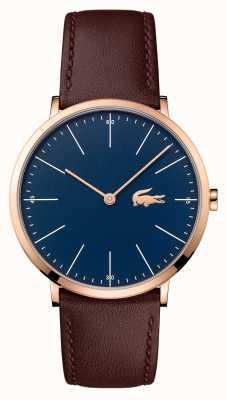 Lacoste Mens bracelet en cuir brun cadran bleu boîtier en or 2010871
