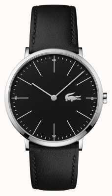 Lacoste Bracelet en cuir noir pour homme étui en acier noir 2010873