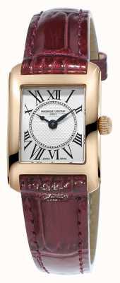 Frederique Constant Womens cadran argenté carree de bracelet en cuir brun FC-200MC14