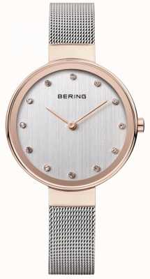 Bering Womens maille d'acier inoxydable cadran bracelet en argent 12034-064