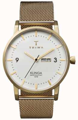 Triwa Bracelet en métal uni ivoire klinga en maille dorée KLST103-ME021313