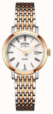 Rotary Womans windsor deux tons rose d'argent bracelet en métal doré LB90155/01