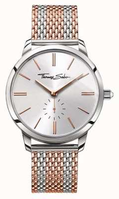 Thomas Sabo Womans glam esprit deux tons bracelet en maille rose d'or d'argent WA0273-283-201-33
