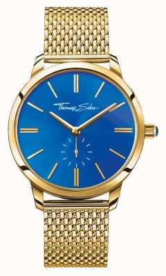 Thomas Sabo Womans esprit glam acier inoxydable bracelet en maille d'or cadran bleu WA0274-264-209-33