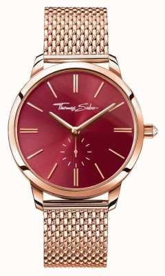 Thomas Sabo Womans acier esprit glam rose bracelet en maille or cadran rouge WA0276-265-212-33