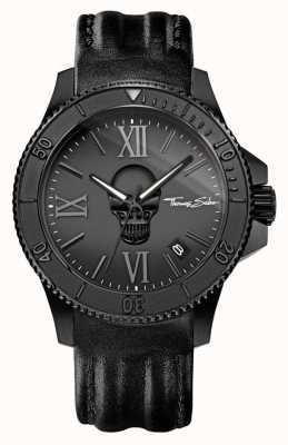 Thomas Sabo Hommes rebelles icône cuir noir étui en acier noir WA0278-213-203-44
