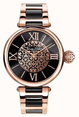 Thomas Sabo Womans karma deux tons bracelet cadran noir WA0280-268-203-38