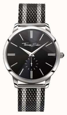 Thomas Sabo Mens esprit rebelle deux tons bracelet en maille d'acier cadran noir WA0267-280-203-42
