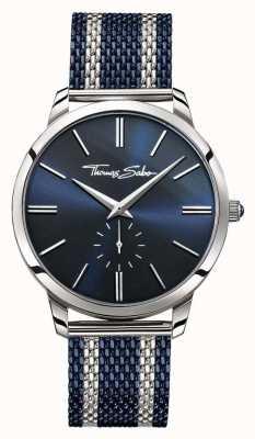 Thomas Sabo Mens esprit rebelle deux tons bracelet en maille d'acier cadran bleu WA0268-281-209-42