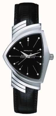 Hamilton Mens ventura pintes bracelet en cuir noir cadran noir H24411732