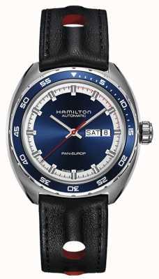 Hamilton Mens pan europ bracelet en cuir noir cadran bleu H35405741