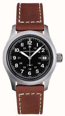 Hamilton Mens champ kaki quartz bracelet brun cadran noir 38mm H68411533