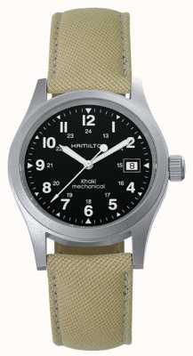 Hamilton Mens agent de terrain kaki beige bracelet remontage manuel cadran noir H69439933