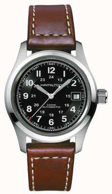 Hamilton Mens champ kaki automatique cadran noir bracelet brun H70455533