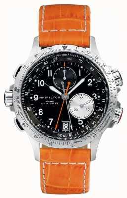 Hamilton Mens kaki eto flyback bracelet en cuir orange H77612933