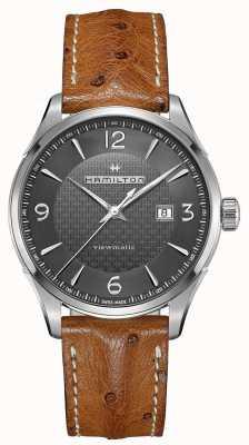Hamilton Mens jazzmaster viewmatic bracelet en cuir brun automatique H32755851
