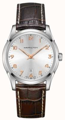 Hamilton Mens jazzmaster thinline cuir brun cadran bracelet en argent H38511513