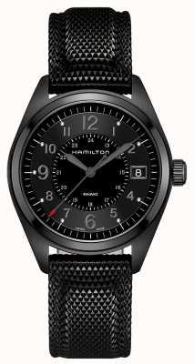 Hamilton Mens khaki champ matériel noir cadran noir H68401735