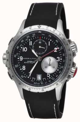 Hamilton Mens kaki eto chronographe flyback bracelet en caoutchouc noir H77612333