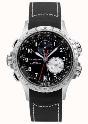 Hamilton Bracelet en caoutchouc noir chronographe eto flyback homme kaki H77612333
